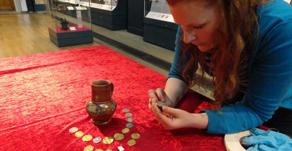 Lucy Ellis with the Holy Island hoard