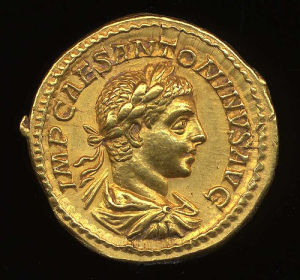 Obverse image of a coin of Elagabalus