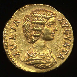 Obverse image of a coin of Julia Domna