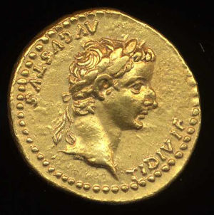 Obverse image of a coin of Tiberius