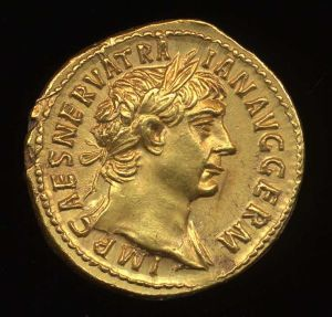 Obverse image of a coin of Trajan