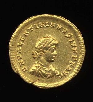 Obverse image of a coin of Valentinian II
