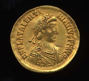 Obverse image of a coin of Valentinian III