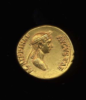 Obverse image of a coin of Agrippina the Elder