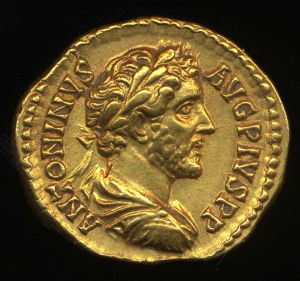 Obverse image of a coin of Antoninus Pius
