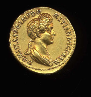 Obverse image of a coin of Domitia Longina