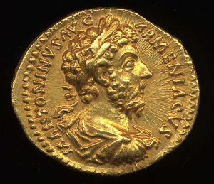 Obverse image of a coin of Marcus Aurelius (as Augustus)