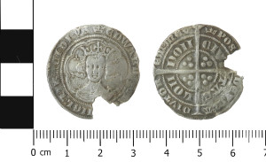 Edward III pre-treaty series F, IM coronet, minted in London dating to 1356 found at Somerford Booths in East Cheshire- recorded under LVPL-ECEE8A