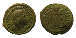 The detail on the helmeted bust of this nummus of Constantine I is especially clear. The coin was minted in Siscia (now Sisak a city in central Croatia). The fantastic condition of these coins, suggest that they were not in circulation for very long. Copyright: Trustees of the British Museum. License: Attribution License.