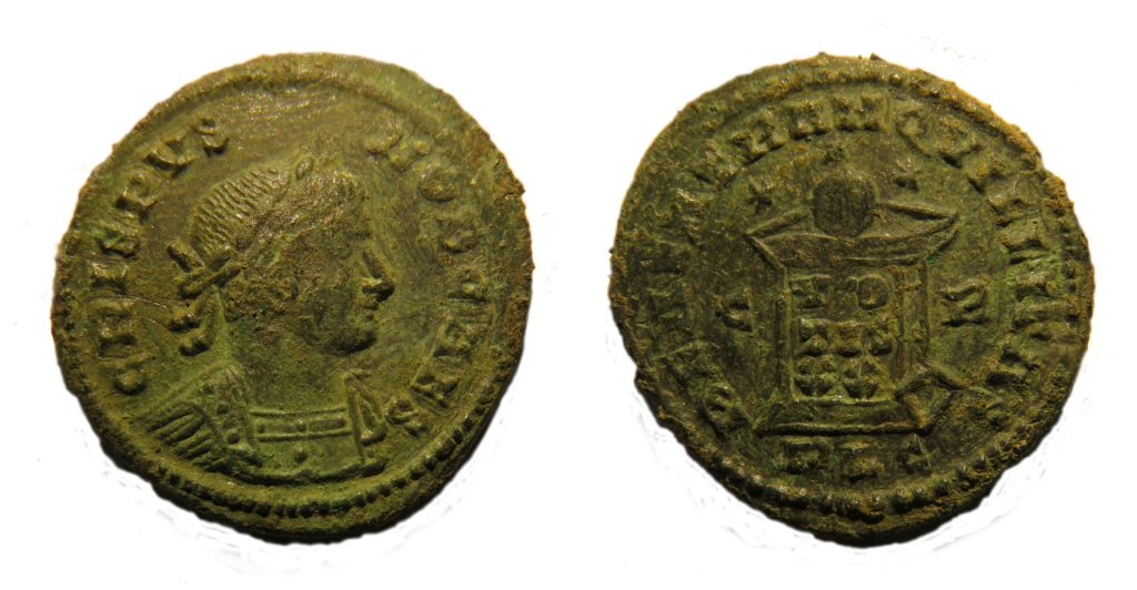 A nummus of Crispus (AD317-326). Copyright: Trustees of the British Museum. License: Attribution License.