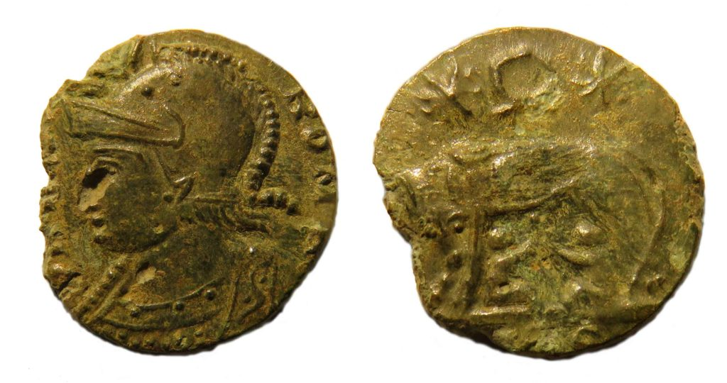 A nummus of the House of Constantine, VRBS ROMA reverse depicting wolf and twins. Copyright: Trustees of the British Museum. License: Attribution License.