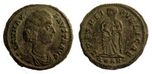 Nummus of Fausta AD 324-328 Copyright: Portable Antiquities Scheme. License: CC-BY.