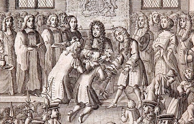 Engraving depicting Charles the Second seated centre, with two men kneeling before him. Charles has both hands placed on the head of one of the kneeling men as he performs the Royal Touch ceremony to cure the man of scrofula.