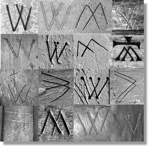 Image of 16 graffiti marks carved into stone. Each is shaped as two letter V overlapping each other side by side to form a W shape. The marks are arranged in a four-by-four grid.