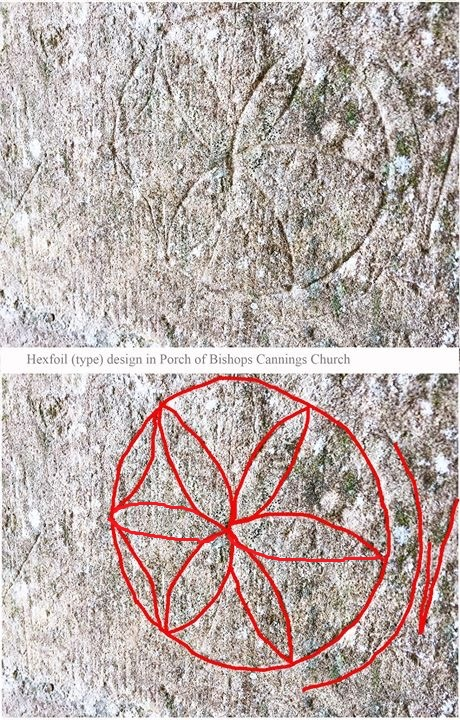Close-up image of graffiti on stone in the shape of a daisy wheel: a circle with a six petal flower shape inside it.