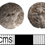 Image of two sides of a silver medieval coin. The left hand image shows the portrait of Edward I but there are punch-holes where the eyes should be.