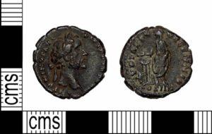 Image of a Roman coin of Antoninus Pius found in Lancashire.