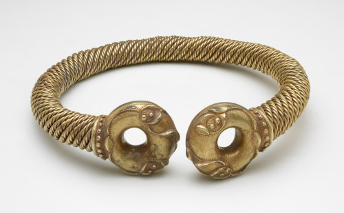 The Newark Torc: a neck torc made of electrum (an alloy of gold and silver) with two donut-shaped terminals and a band made of twisted metal ropes.