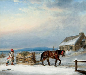 """Figure, horse and sleigh in snow"" by Cornelius Krieghoff."