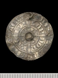 Medieval silver brooch fashioned from a groat of  King Edward I (NMGW-45F745).