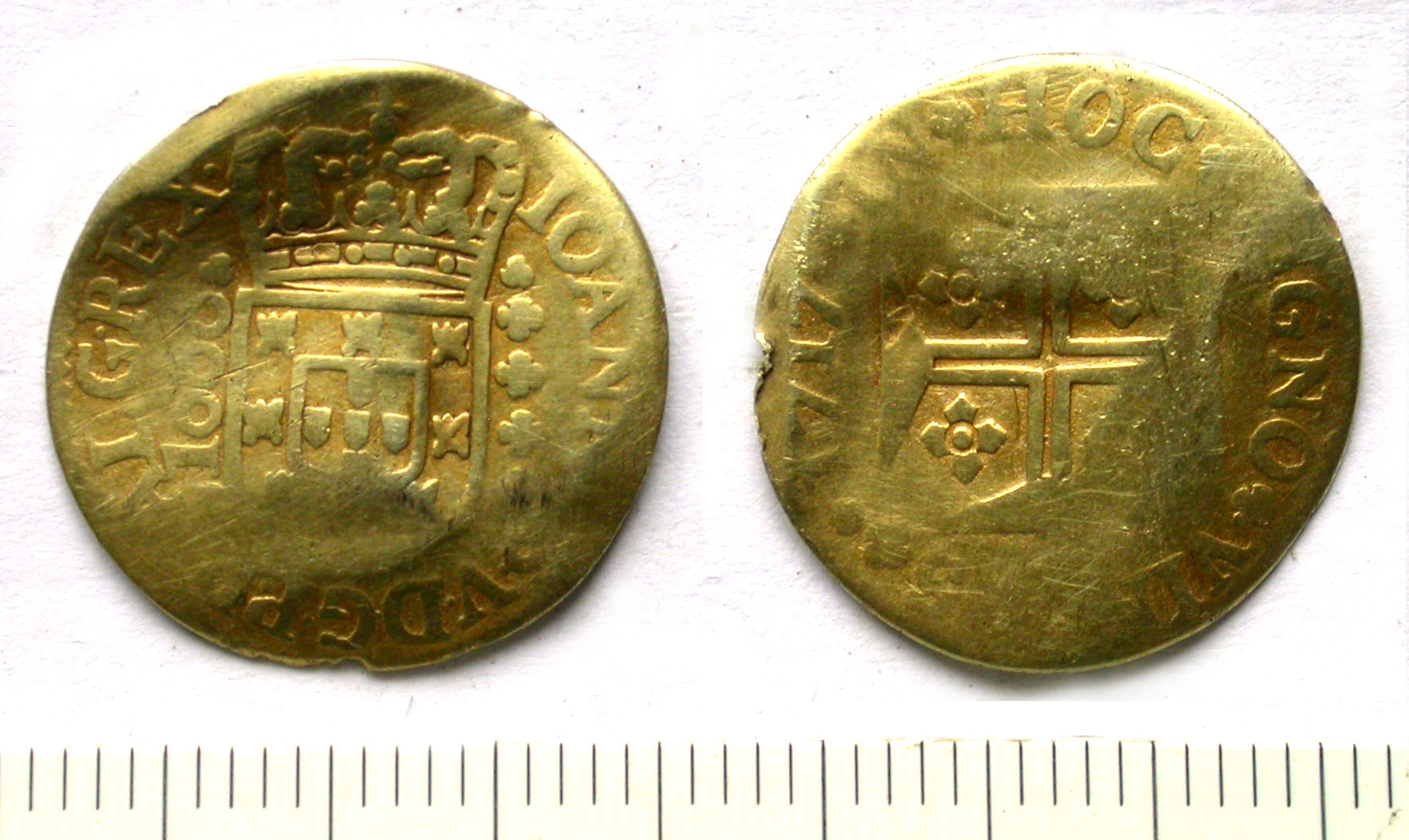 Portuguese gold coin; a moeda, which would have circulated in Britain