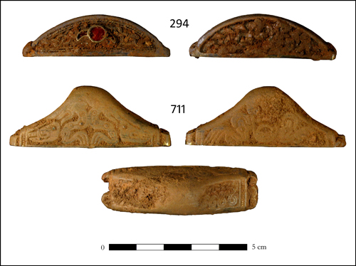 Fig. 6: two copper-alloy sword pommels from the Staffordshire Hoard