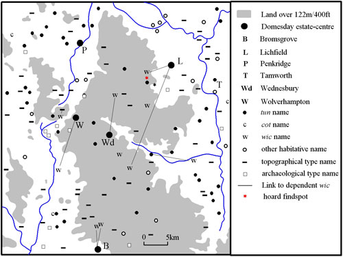 Fig. 2. Habitative place-names in south Staffordshire