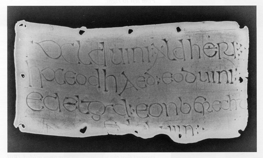 X-ray of the lead plaque from Flixborough (Brown and Okasha 2009)