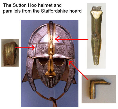 Sutton Hoo helmet with Staffordshire Hoard parallels