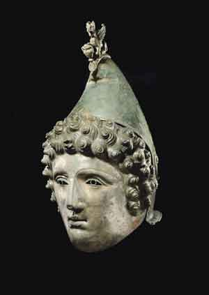 An image of the Roman helmet restored by Christies