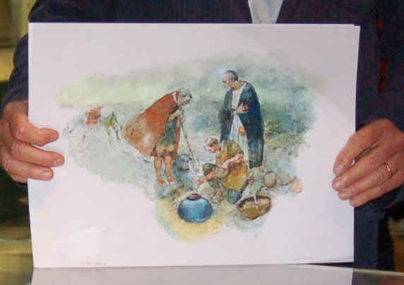 Victor Ambrus' water colour of his view of the hoard being deposited