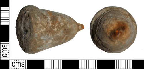 LANCUM-68BC9C: Roman to Post Medieval bell shaped lead-alloy or lead suspended weight
