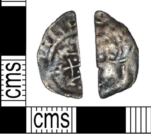 LANCUM-0E2BF7: Medieval clipped hammered silver coin of Henry I, a cut haflpenny