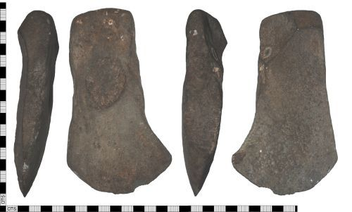 A resized image of Possibly a lamp, of unknown age, formed on an axe shaped stone