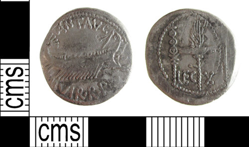 SUSS-96130C: A silver Roman Republican denarius of Mark Antony, dating to 32-31 BC (Reece Period 1)