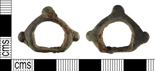 A resized image of A fragment of an early medieval, Anglo-Scandinavian, 11th century, copper alloy cheek piece from a horse harness, AD.1000-1150.
