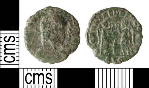 SUSS-D61A24: Complete copper alloy Roman House of Constantine nummus, dating AD347-348.