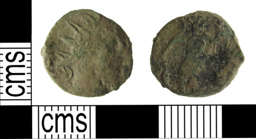 SUSS-681D53: A copper alloy, Roman, radiate (Barbarous), AD.275-285, Reece period 14, mint unknown.