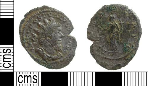SUSS-C85A37: A base silver, Roman radiate of Postumus AD.260-269