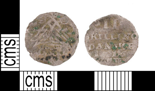 SUSS-1541BD: Post Medieval, incomplete silver II Skilling coin, Danish, heavily clipped and missing the legend, early 18th century, dated AD.1715.