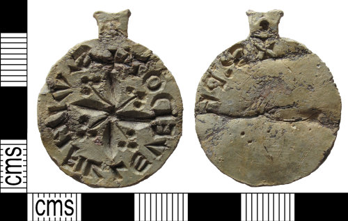 A resized image of A complete, lead, medieval, seal matrix, AD.1200-1450.