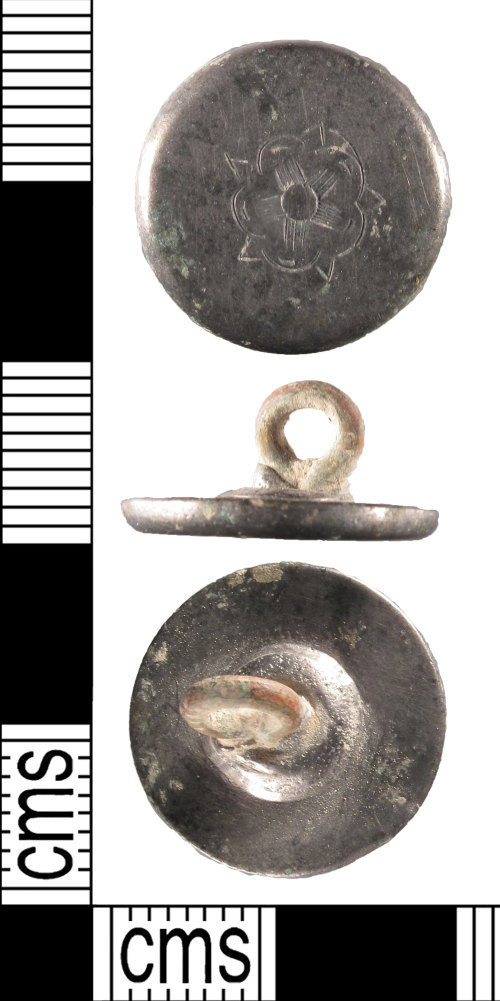 SUSS-94AFBE: A complete, silver, post medieval, 18th century button, AD.1750-1800.