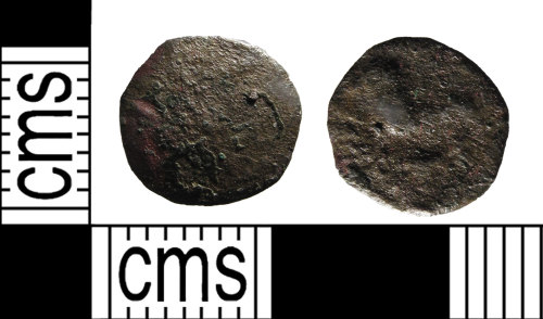 SUSS-7AC094: A copper alloy, Iron Age coin, 50BC-AD.40, the coin is extremely worn and is illegible on both faces.