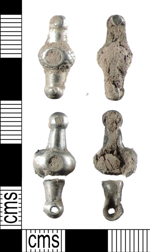 A resized image of A pair of Medieval silver bar mounts with 3 rivet holes on each, AD.1150-1300