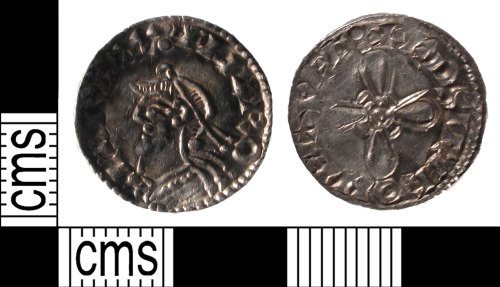 SUSS-B052AE: A silver, early medieval, penny of Harold I, AD.1035-1040, Exeter mint, moneyer, Eadsige, jewel cross reverse, North No.802, AD.1036-1037