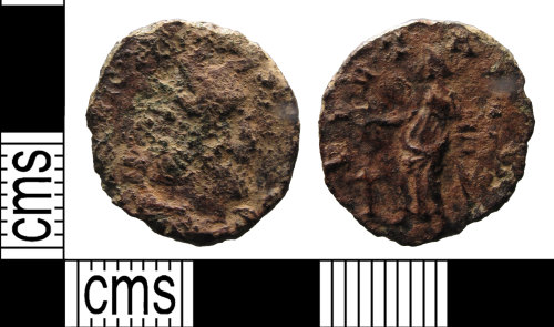 SUSS-7C95DB: A worn copper-alloy radiate struck for Victorinus (AD 269-271) dating to c. AD 269-271. Reece period 13.