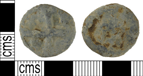 SUSS-7A3F01: Complete post medieval lead circular token, AD1500 - 1800.