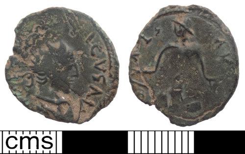 A resized image of Roman coin; barbarous radiate imitating Tetricus I
