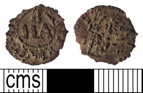 A resized image of Farthing token of Henry Baines, from Stevenage