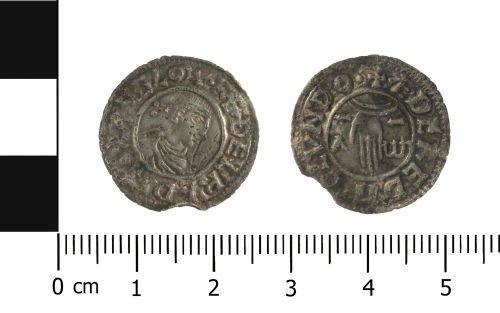 WAW-007910: Early Medieval coin: penny of Aethelred II (Obverse and reverse).